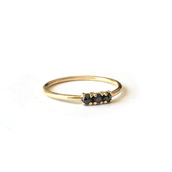 14kt Gold Black Diamond Trio Ring