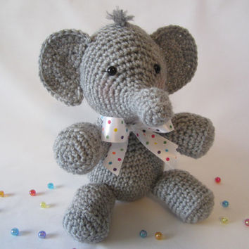 Crochet Elephant Stuffed Elephant  Stuffed Animal by CROriginals