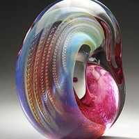 Standing Gold Ruby Sculpture by Robert Burch: Art Glass Sculpture | Artful Home