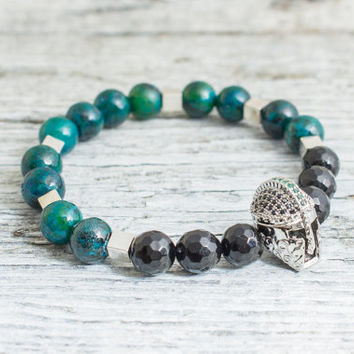 Green phoenix stone and faceted onyx beaded silver Spartan helmet stretchy bracelet, mens bracelet, womens bracelet