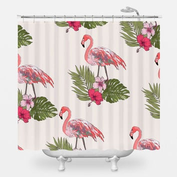 Flamingos on Palms Shower Curtain