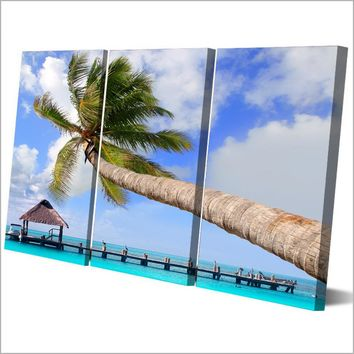 Coconut Trees Picture 3 piece wall art on panel canvas print picture