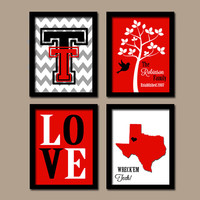 Texas Tech University College Custom Family Monogram Initial State LOVE Bird Tree Wedding Date Artwork Set of 4 Prints Wall Decor Art