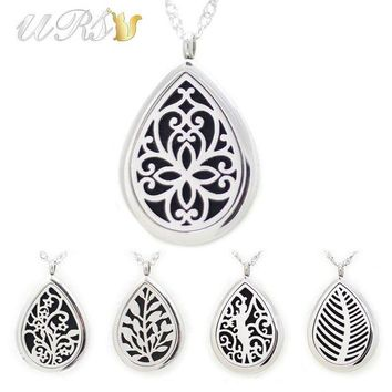 LMFUS4 28mm magnetic 316L stainless steel teardrop essential oil diffusing necklace perfume locket (free felt pads, locket only)