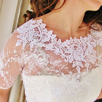 AVAILABLE AGAIN Our Bestseller Kiss Me In BARILOCHE bridal lace top ivory lace top ivory lace blouse bridal bolero jacket wedding bolero