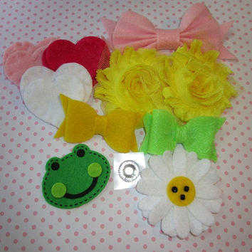DIY 4+ fit  headband kit. Felt hearts, flowers and bows, chiffon shabby flowers, baby showers, baby headband, girls headband.