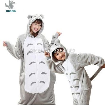 HKSNG Totoro Kigurumi Flannel Cartoon Stitch Giraffe Minions Panda Tiger Zebar Cat Family Pajamas Onesuits Costumes Sleepwear