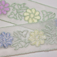 Daisy Netted Lace Embroidered Sewing Trim 1 7/8 inches wide x 6 yards Full Bolt