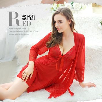 Black/Blue/Red Women Sexy Temptation Nightdress Lace Floral Nightgowns Perspective Romantic Adytum Night Robes Intimates Slips