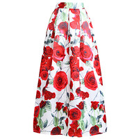 Red Rose Print Pleated A-Line Midi Skirt