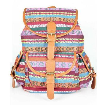 LMFON1O Day First Ethnic College School Bag Travel Bag Canvas Backpack