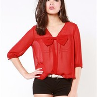 A'GACI Big Bow Silky Chiffon Blouse - Tops