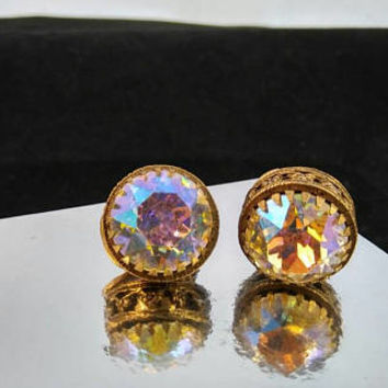 Headlight AB Rhinestone High End Earrings - Chunky Rare Hard To Find Statement Jewelry - Mid Century Collectibles
