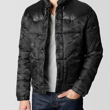LEATHER YOKE NYLON CAMO MENS PUFFER JACKET - Outerwear | True Religion Brand Jeans
