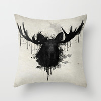 Moose Throw Pillow by Nicklas Gustafsson