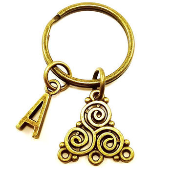 Triskele Celtic keyring, keychain, bag charm, purse charm, monogram personalized custom gifts under 10 item No.323