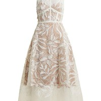 White Floral-Embroidered Tulle Dress