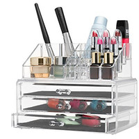 Home-it Clear acrylic Jewelry/ Makeup organizer 3 Drawer Chest