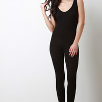 Rib Knit Scoop Neck Sleeveless Jumpsuit