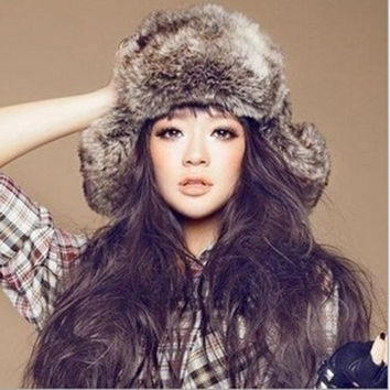 Faux Fur Russian Trapper Hat Womens Mens Ear Warm Winter Beret Cap Earflap Hat = 1932534340
