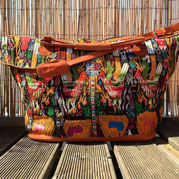Mexican Travel Bag - large embroidered Mexican folk art traditional woven overnight travel Mayan blouse handmade
