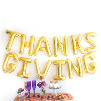 New 1Set 16 inch thankful/congrats thanksgiving specially Number Foil Letters Balloons birthday Party Decoration wedding favors