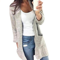 Gray Women's Long Sleeve Solid Color Knitted Sweater Cardigan
