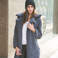 Long Sleeve Fur Midi Coat