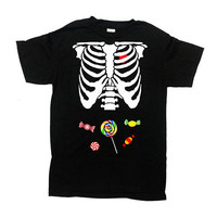 Candy Skeleton Shirt Halloween Costume Ribcage T Shirt Kids Halloween TShirt Skeleton Costume Outfit Kids Boys Girls  Bodysuit Tee - SA838