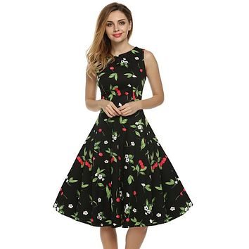 Floral Swing Summer Dress in Black with Red Cherries