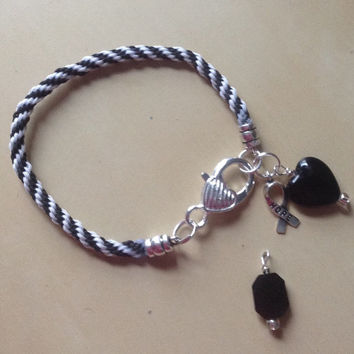 Blue or Black Awareness Bracelet-Kumihimo-Melanoma-Chronic Fatigue-Huntingston Disease-Mourning 9/11