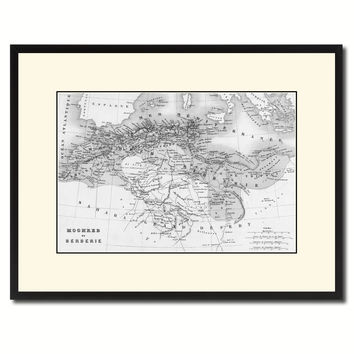 North Africa Barbary Coast Vintage B&W Map Canvas Print, Picture Frame Home Decor Wall Art Gift Ideas