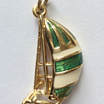 Vintage Pendant / Sailboat Pendant / Sailboat Charm / Nautical Charm / Green & White / Vintage Costume Jewelry