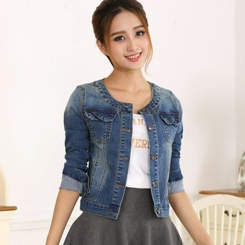 Autumn Denim Jacket For Women Long Sleeve O-Neck Short Jeans Jacket