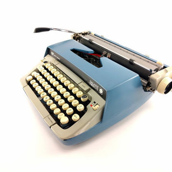 Reconditioned Blue Smith-Corona Galaxie 12 Typewriter - Working Manual Typewriter - Excellent Condition