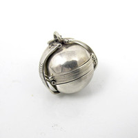 Sterling Silver Ball Locket Pendant, Multi Photo Picture Locket, Round Sphere Globe Six Picture Accordion Fold Out, Taxco Mexico Locket
