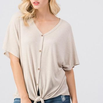 Taupe Waffle Button Down Knot Top