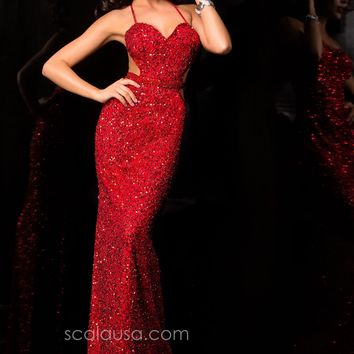 Scala 48389 Sexy Red Beaded Sequin Gown