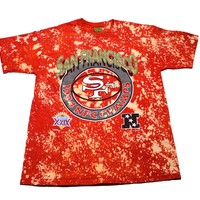 Vintage 1994 San Francisco 49ers NFC Champs Red Bleached Shirt Made in USA Mens Size Large