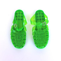 Vintage 1990s Neon Green Adjustable Jelly Shoes