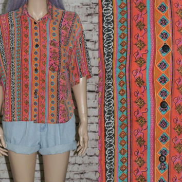 Cropped Blouse Button up Floral Geo Print Tribal Grunge Hipster Festival oversize  XS S M cotton neon bright 80s 90s crop top shirt