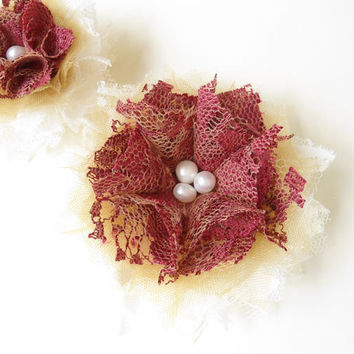 Lace Fabric Flower Hair Clips Floral Hair Accessories Wine Red Off White Lace Honey Gold Tulle with Pearls for Bridesmaids, Women, Gifts