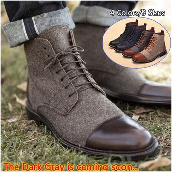 2018 Men's Limited Edition Casual England Canvas Leather Short Boots-FOUR UNCLES