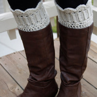 Cream Crochet Boot Cuff with Scalloped Edge, Boot Topper, Boot Socks