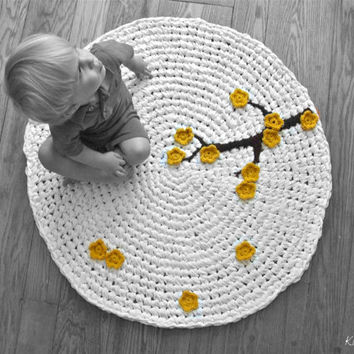 Crochet Rug Cherry Tree White Cotton with Mustard Yellow Flower Appliques and Alpaca Wool Branch Zen Modern Nursery Rug
