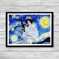 Princess Leia Print, Starry Night Print, Star Wars, Inspired, Princess Leia, Princess Leia Art Print, Princess Leia Cotton Canvas Print