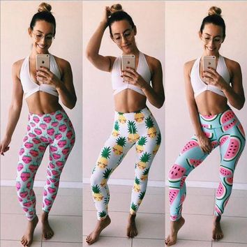 DCCKH6B Leggings Femmes Pineapple Watermelon Printed Leggings Women Elastic Workout Legging Pants Summer Fashion Ladies Fitness Leggins