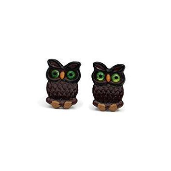 Tiny Brown Polymer Clay Owl Earrings