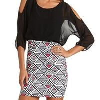 Spiked Cold Shoulder 2-Fer Dress