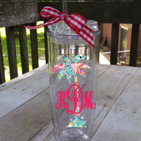 Palm Tree Monogrammed Thermal Tumbler ~ Lilly Pulitzer inspired patterns ~ choose your pattern, choose your style!!
